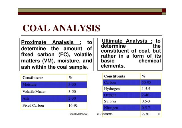 COAL ANALYSIS Ultimate Analysis : to determine the constituent of coal, but rather in a form of its basic chemical element...