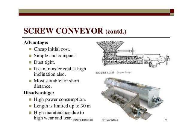 SCREW CONVEYOR (contd.) Advantage:  Cheap initial cost.  Simple and compact  Dust tight.  It can transfer coal at high...