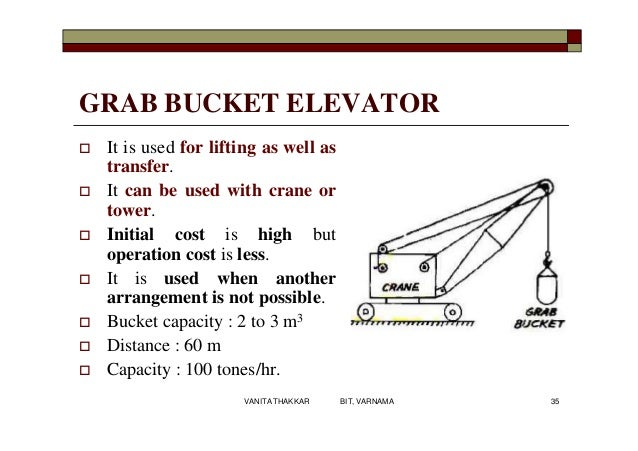 GRAB BUCKET ELEVATOR  It is used for lifting as well as transfer.  It can be used with crane or tower.  Initial cost is...