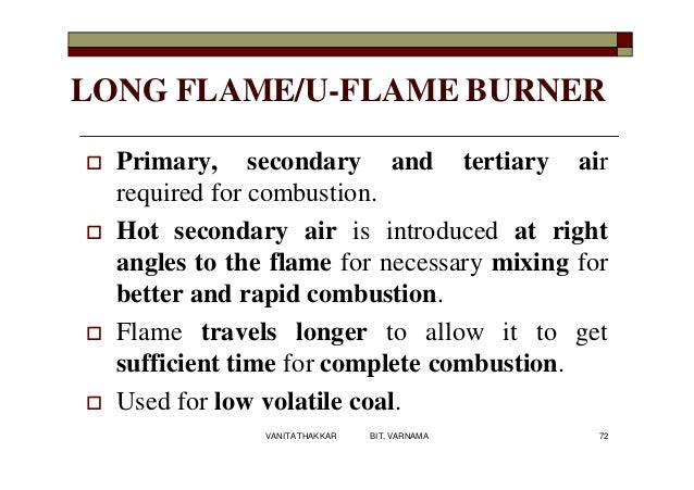LONG FLAME/U-FLAME BURNER  Primary, secondary and tertiary air required for combustion.  Hot secondary air is introduced...