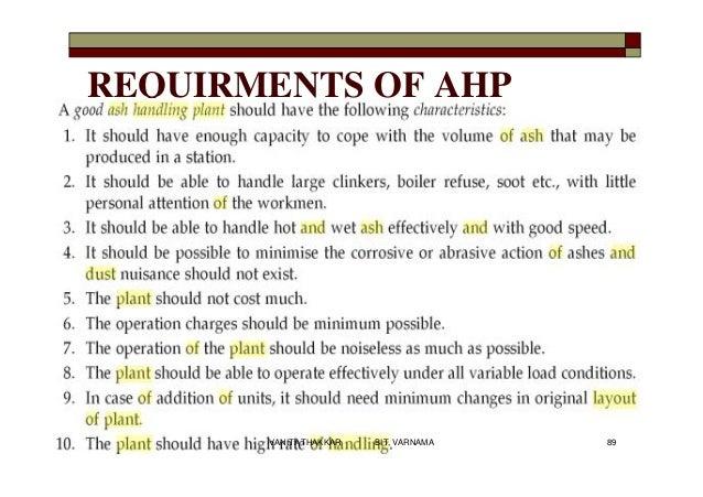 REQUIRMENTS OF AHP 89VANITA THAKKAR BIT, VARNAMA