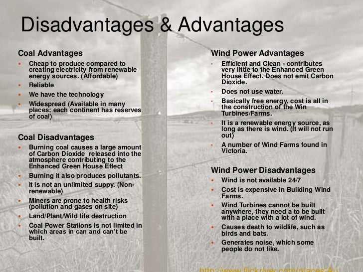 environmental science coal and wind power  10 disadvantages advantagescoal advantages