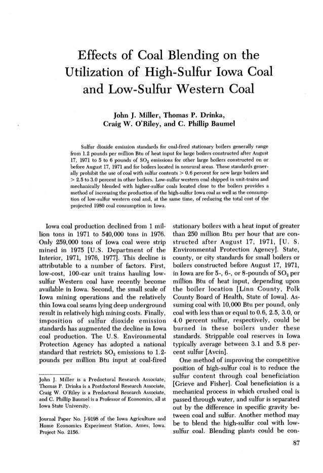 Effects of Coal Blending on the           Utilization of High-Sulfur Iowa Coal              and Low-Sulfur Western Coal   ...