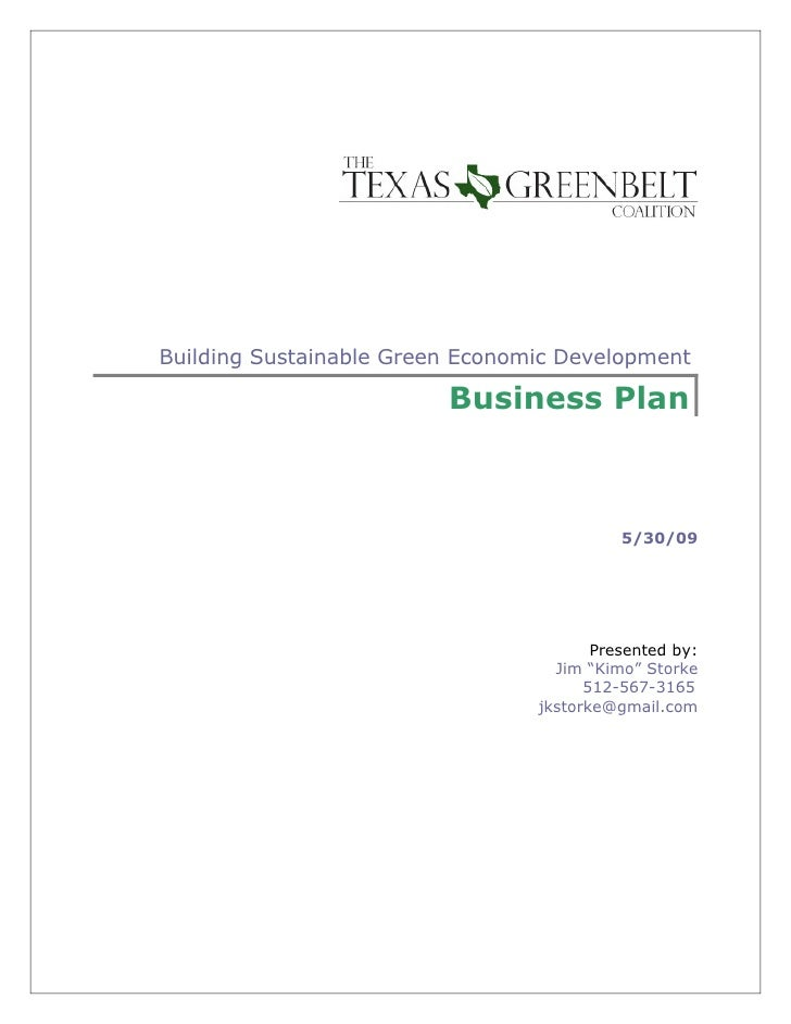 Building Sustainable Green Economic Development                           Business Plan                                   ...