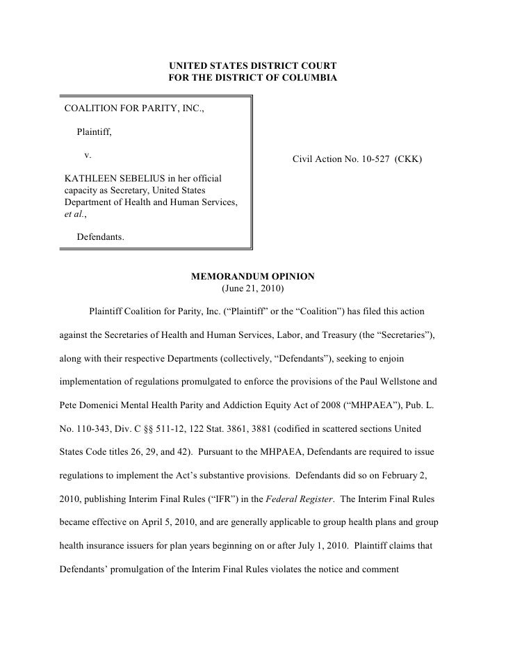 UNITED STATES DISTRICT COURT                             FOR THE DISTRICT OF COLUMBIA    COALITION FOR PARITY, INC.,      ...