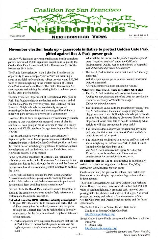 Coalition for sf neighborhoods   golden gate park -- ballot