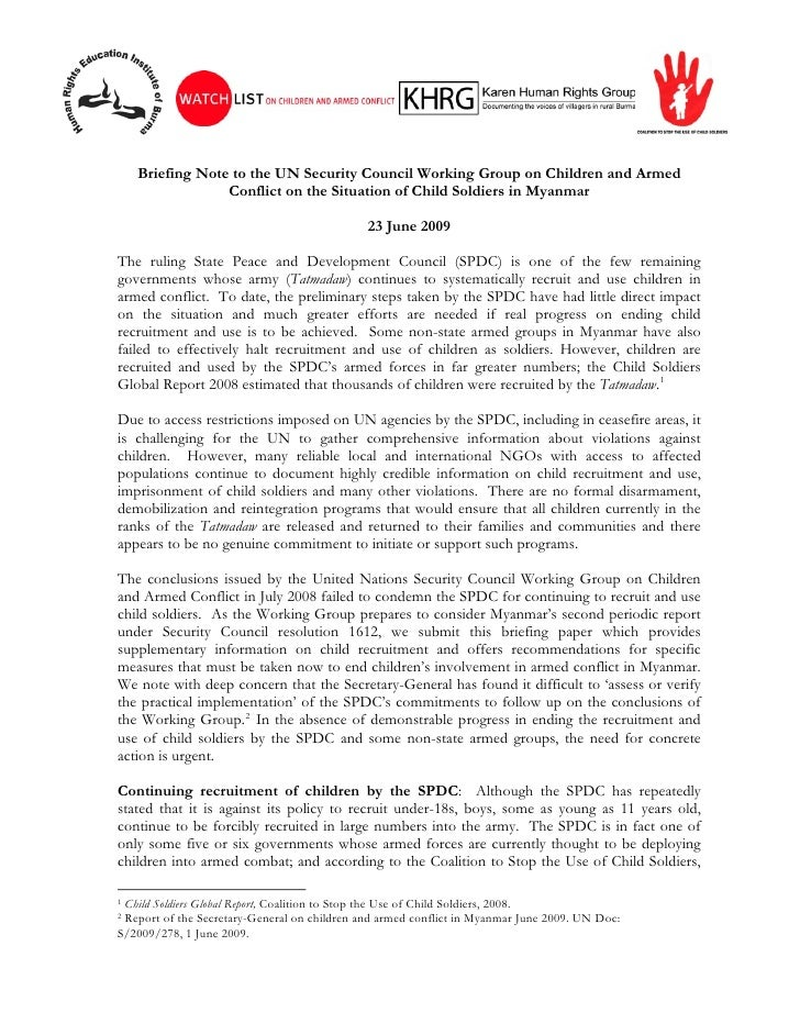 Briefing Note to the UN Security Council Working Group on Children and Armed                  Conflict on the Situation of...