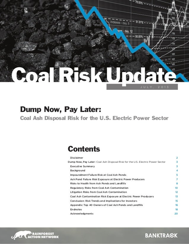 J U L Y , 2 0 1 3 Coal RiskUpdate Disclaimer Dump Now, Pay Later: Coal Ash Disposal Risk for the U.S. Electric Power Secto...