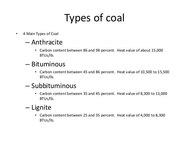 types of coal and carbon content