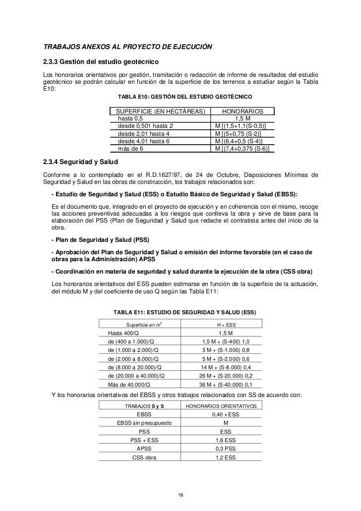 TRABAJOS ANEXOS AL PROYECTO DE EJECUCIÓN2.3.3 Gestión del estudio geotécnicoLos honorarios orientativos por gestión, trami...