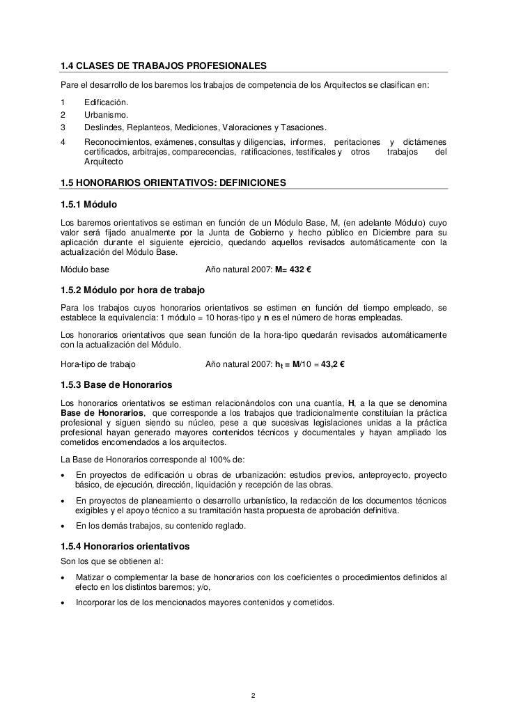 1.4 CLASES DE TRABAJOS PROFESIONALESPare el desarrollo de los baremos los trabajos de competencia de los Arquitectos se cl...