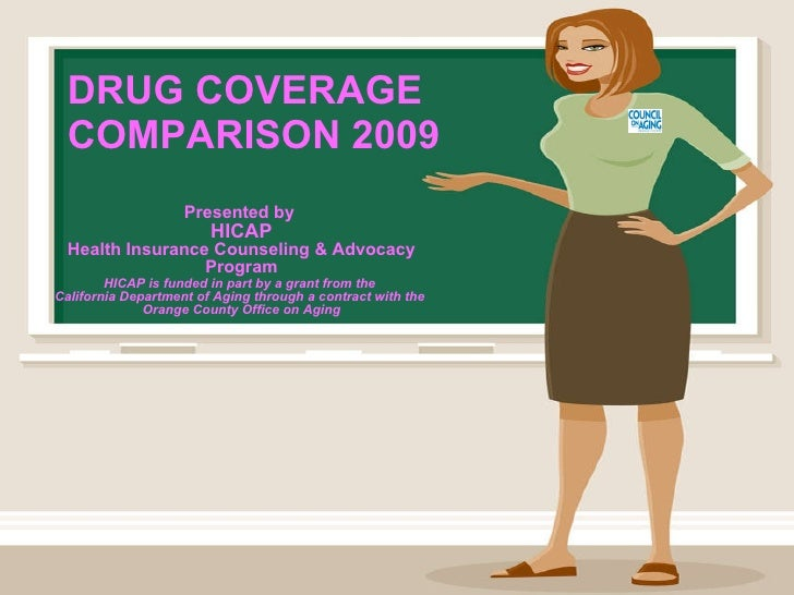 DRUG COVERAGE COMPARISON 2009 Presented by   HICAP Health Insurance Counseling & Advocacy Program HICAP is funded in part ...