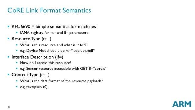 41 CoRE Link Format Semantics § RFC6690 = Simple semantics for machines § IANA registry for rt= and if= parameters §...