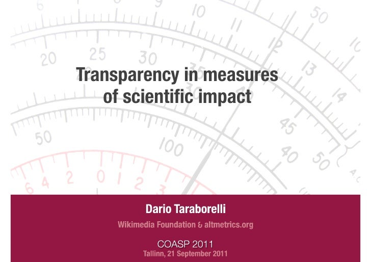 Transparency in measures                          of scientific impact