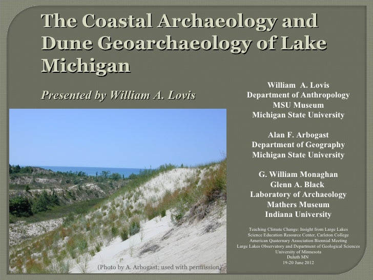 The Coastal Archaeology andDune Geoarchaeology of LakeMichigan                                                            ...