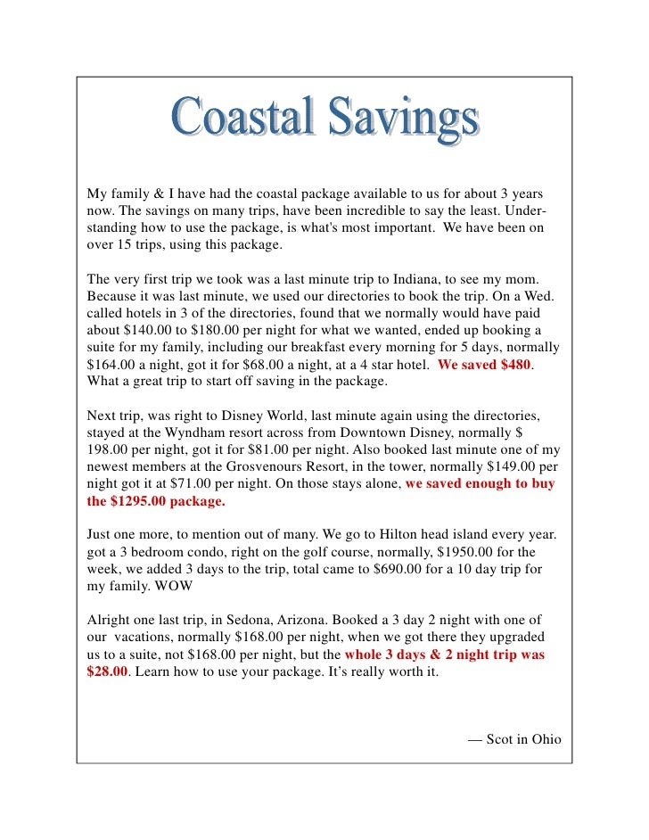 Coastal Vacations Offers Complimentary And 80 Off Real
