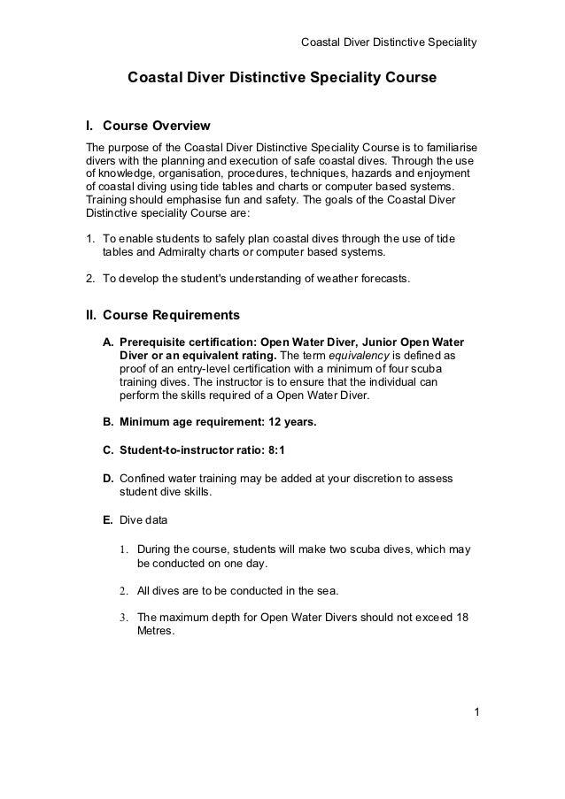 Coastal Diver Distinctive Speciality        Coastal Diver Distinctive Speciality CourseI. Course OverviewThe purpose of th...