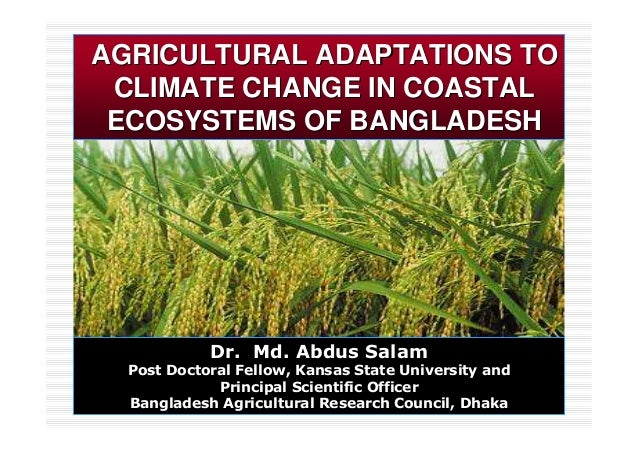 AGRICULTURAL ADAPTATIONS TOAGRICULTURAL ADAPTATIONS TO CLIMATE CHANGE IN COASTALCLIMATE CHANGE IN COASTAL ECOSYSTEMS OF BA...