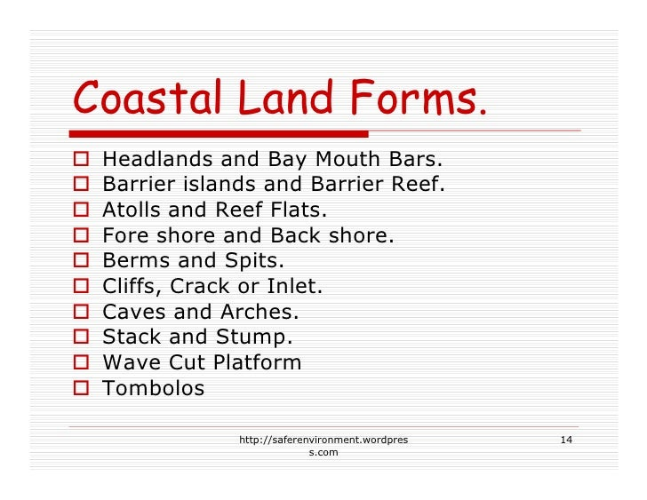 Coastal Land Forms.  Headlands and Bay Mouth Bars.  Barrier islands and Barrier Reef.  Atolls and Reef Flats.  Fore shore ...