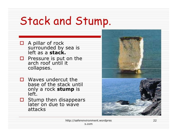 Stack and Stump.  A pillar of rock  surrounded by sea is  left as a stack.  Pressure is put on the  arch roof until it  co...