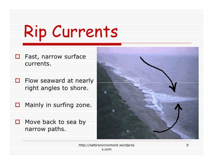 Rip Currents Fast, narrow surface currents.  Flow seaward at nearly right angles to shore.  Mainly in surfing zone.  Move ...