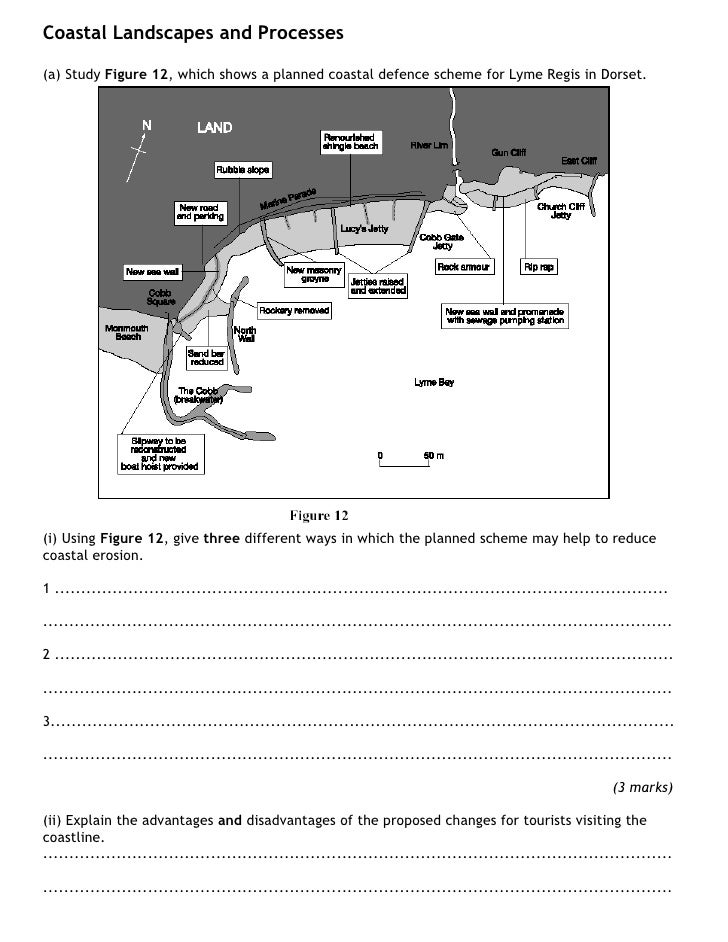Coastal Landscapes and Processes  (a) Study Figure 12, which shows a planned coastal defence scheme for Lyme Regis in Dors...