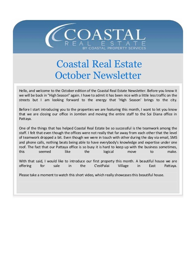 Coastal Real Estate October Newsletter Hello, and welcome to the October edition of the Coastal Real Estate Newsletter. Be...