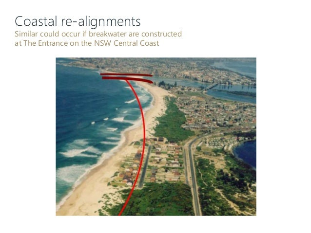 Coastal re-alignments Similar could occur if breakwater are constructed at The Entrance on the NSW Central Coast