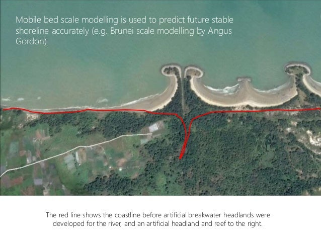 The red line shows the coastline before artificial breakwater headlands were developed for the river, and an artificial he...