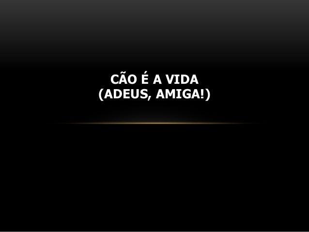CÃO É A VIDA(ADEUS, AMIGA!)