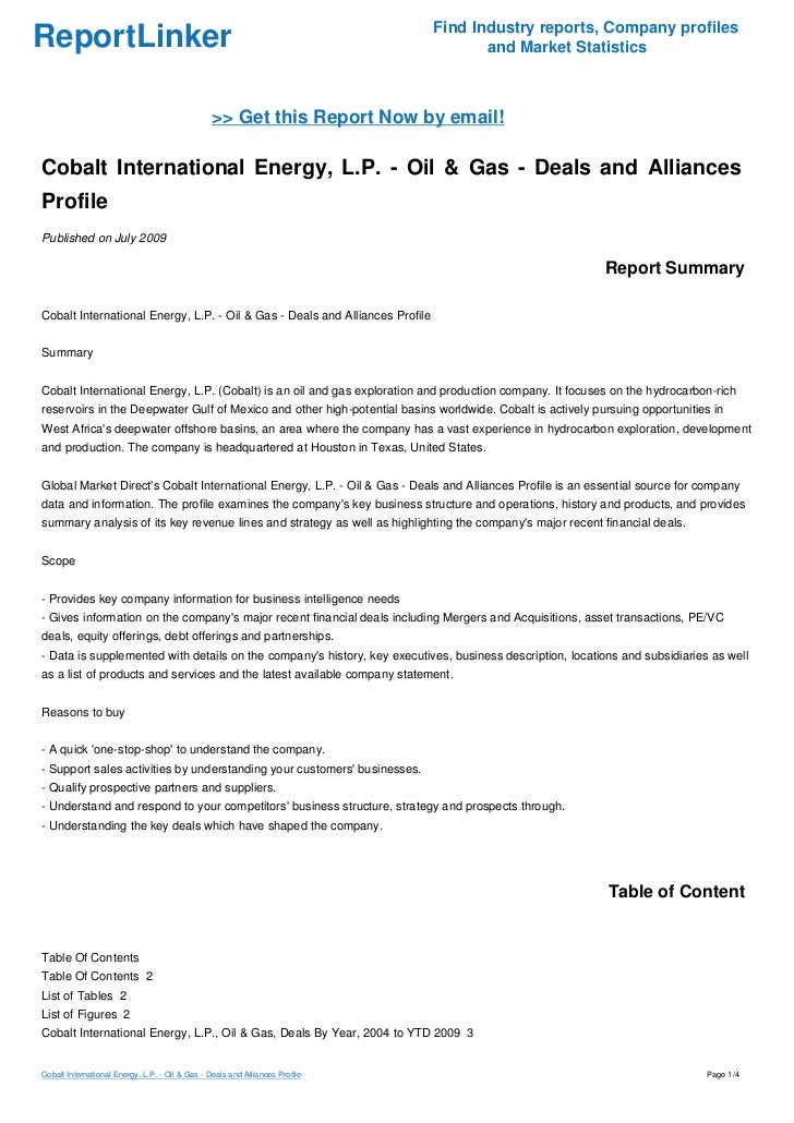 Cobalt International Energy, L.P. - Oil & Gas - Deals and Alliances Profile