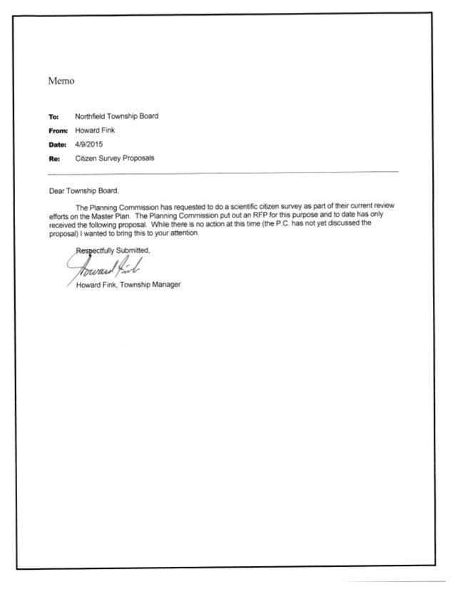 Northfield Township Board Howard Fink 4/9/2015  Citizen Survey Proposals  Dear Township Board,   The Planning Commission ha...