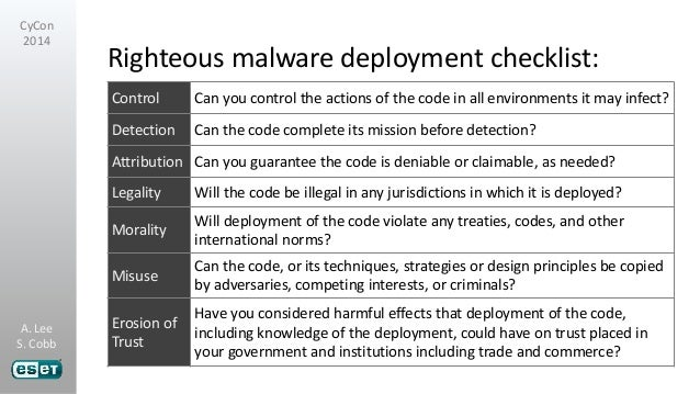 Malware and the risks of weaponizing code