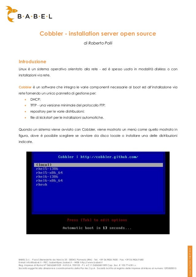 Cobbler - installation server open source                                                           di Roberto PolliIntrod...