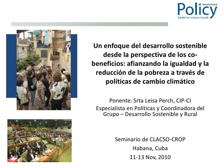 Un enfoque del desarrollo sostenible desde la perspectiva de los co-beneficios: afianzando la igualdad y la reducción de l...