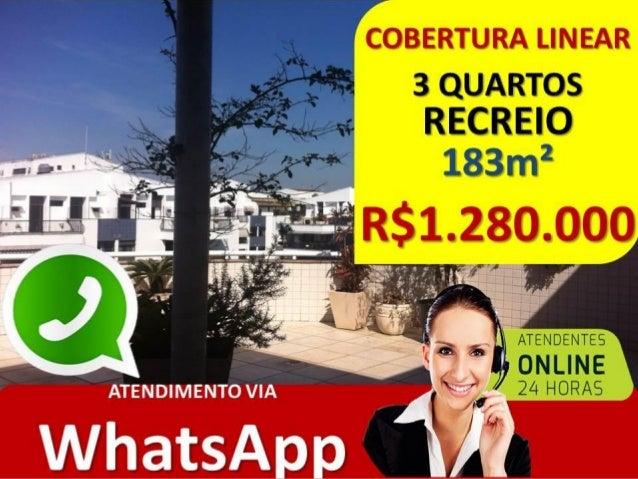 COBERTURA LINEAR RECREIO • RUA GUSTAVO CORÇÃO • 183 M2 • LINEAR • 2 VAGAS • CHURRASQUEIRA E SALÃO DE FESTAS • RGI – 100% L...