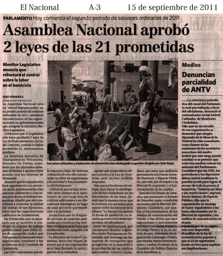 Cobertura en prensa escrita de la Rueda de Prensa de Monitor Legislativo (14 sep 2011)
