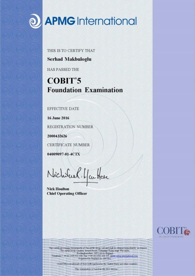 COBIT5 Foundation Certificate - APMG