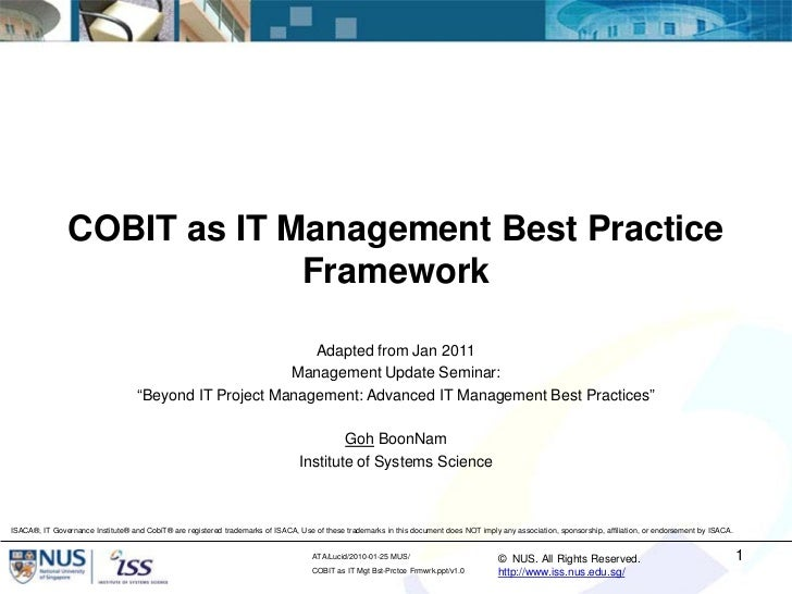 COBIT as IT Management Best Practice                             Framework                                                ...