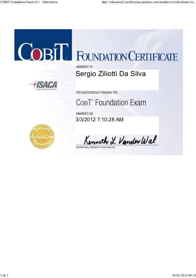 Cobit Foundation V41 Certificate
