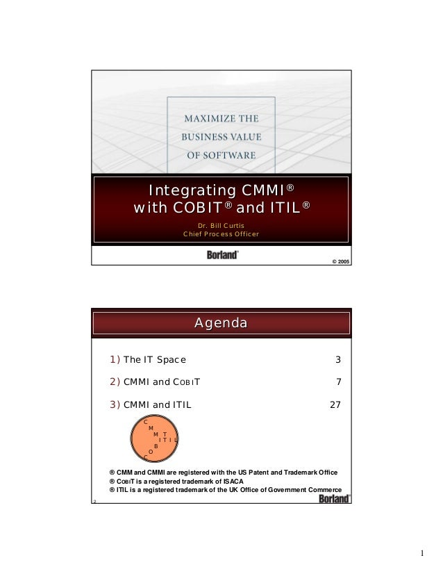 Integrating CMMI® with COBIT® and ITIL® Dr. Bill Curtis Dr. Bill Curtis Chief Process Officer Chief Process Officer  © 200...