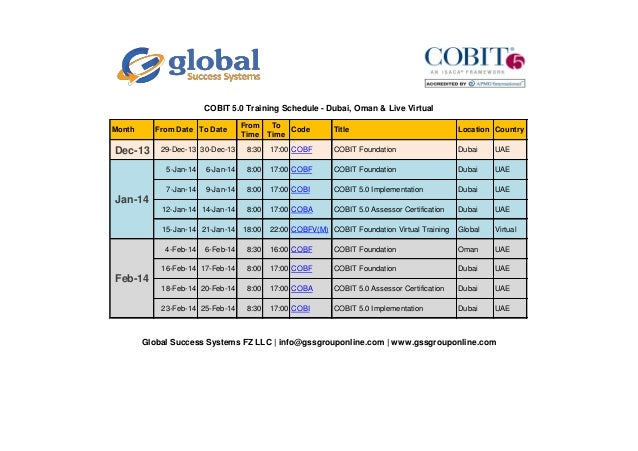 COBIT 5.0 Training Schedule - Dubai, Oman & Live Virtual Month  From Date To Date  Dec-13  29-Dec-13 30-Dec-13  From Time ...