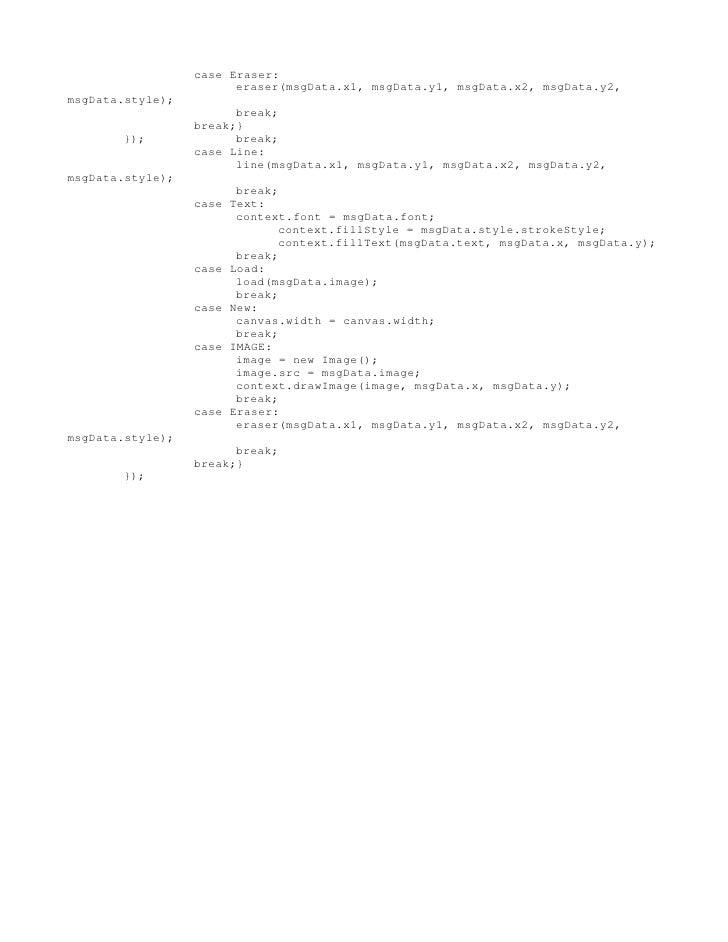 case Eraser:                        eraser(msgData.x1, msgData.y1, msgData.x2, msgData.y2,msgData.style);                 ...