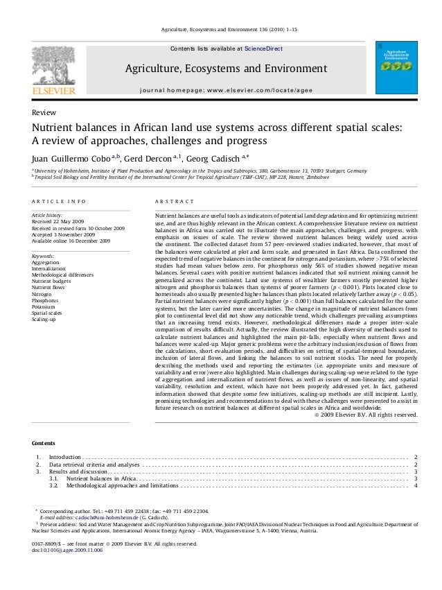 Review Nutrient balances in African land use systems across different spatial scales: A review of approaches, challenges a...