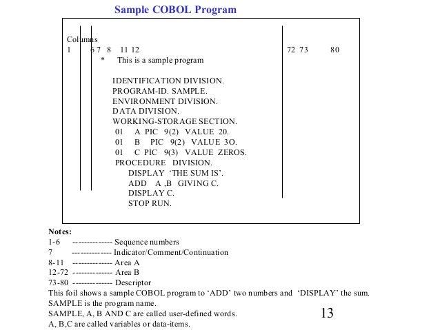 General anatomy of a cobol program turreta. Com.