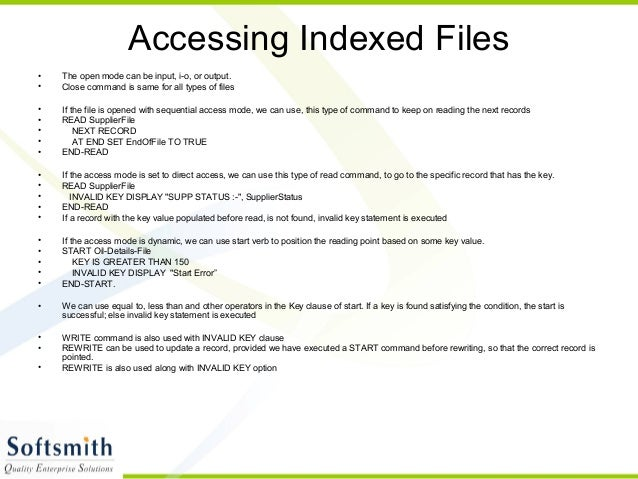 Fd Section In Cobol File Status In File Control Section