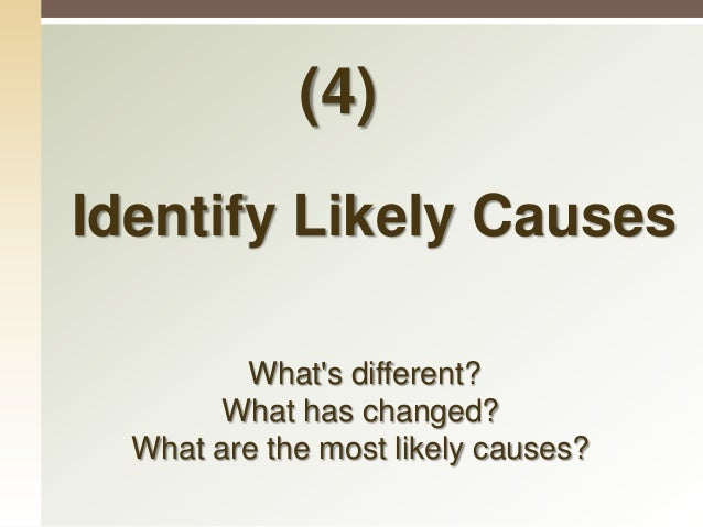 Identify Likely Causes  Identify the differences between what you identified and between what is right and what is wrong....