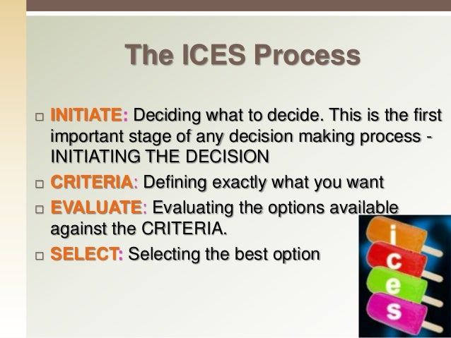 6 C's of Decision Making 1. Construct: A clear picture of precisely what must be decided. 2. Compile: A list of requiremen...