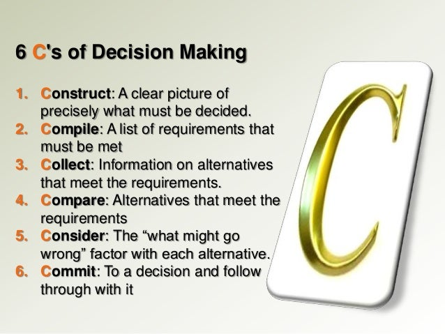 Steps For Decision Making To make sure that you are making the best choice,
