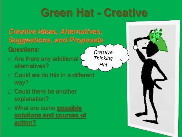 Blue Hat - Process Sums it up what is learned. Reflection on how the whole thinking process was conducted Examples:  Set ...